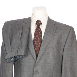 Chaps Two Button Pure Wool Heather Gray Suit